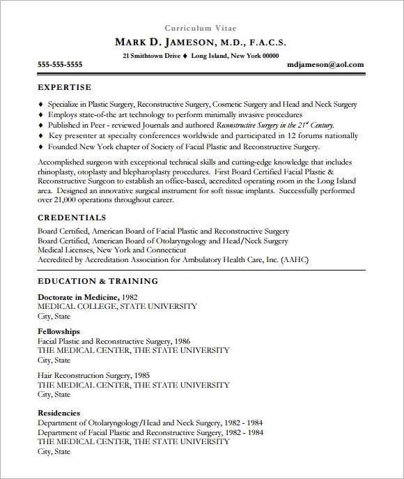 sample medical cv template