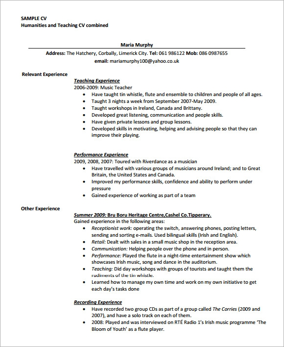 Sample Teaching Cv Template   Download Free Documents In Pdf Word