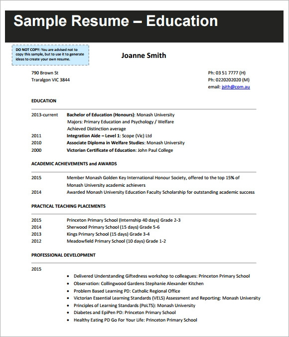 Sample Teaching CV Template