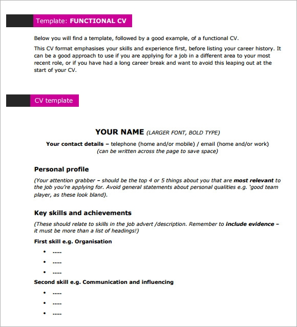 Doc7281030 Functional Cv Template Resume Template Resolution – Telephone List Template