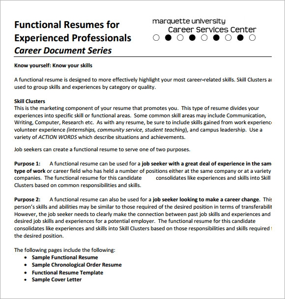sample functional cv