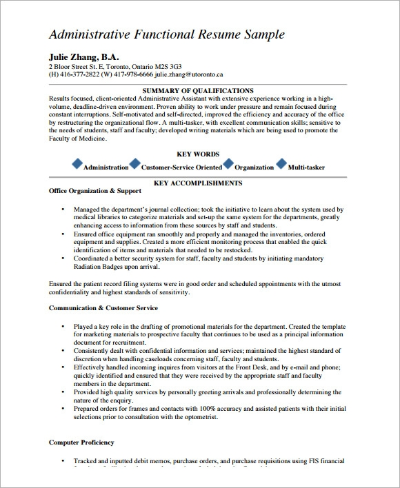 Sample Functional Cv - 9+ Documents In Pdf, Word