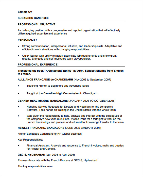 professional cv template 8 free documents in
