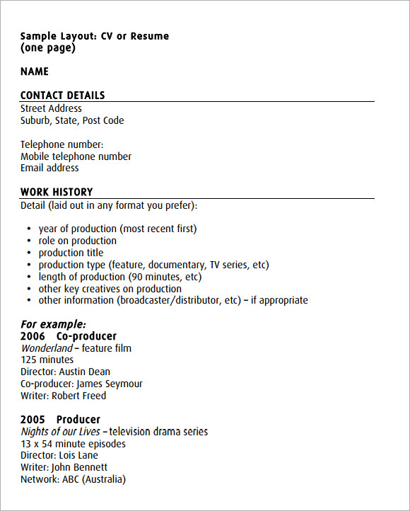 acting cv template 7 documents in pdf