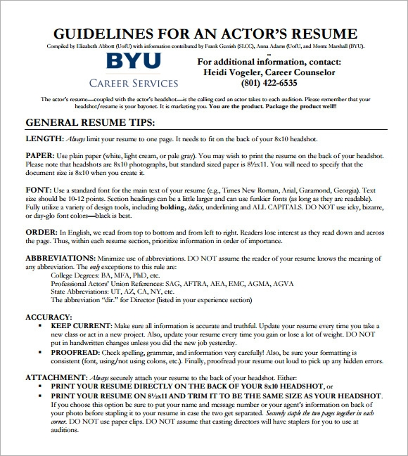 free acting cv template