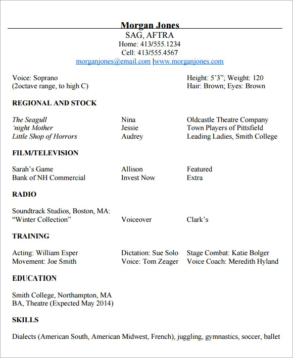 Sample Acting Cv Template   Download Documents In Pdf