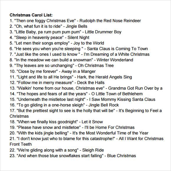 christmas carol list