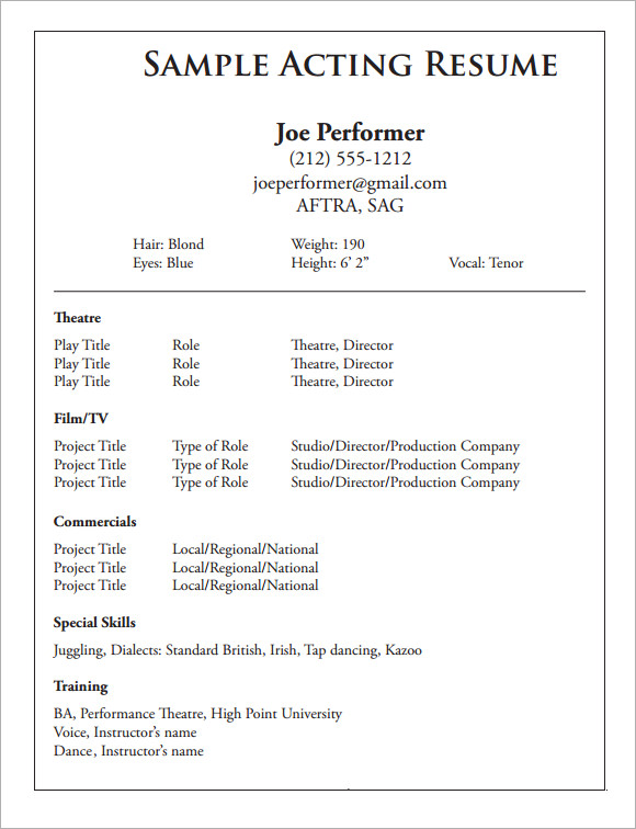 sample acting cv template 7 download documents in pdf With actors cv template free