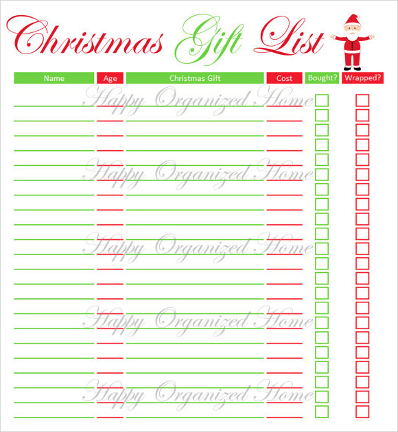 kids christmas list template