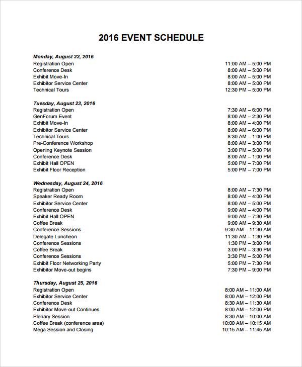 sample event schedule