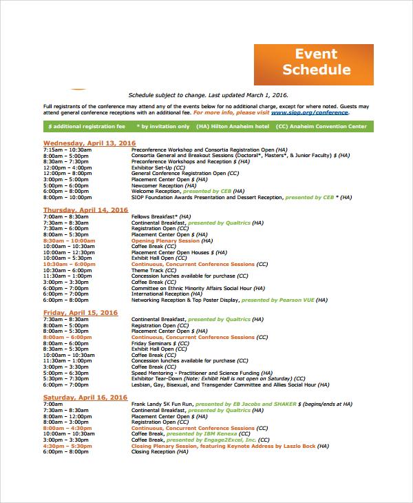 simple event schedule