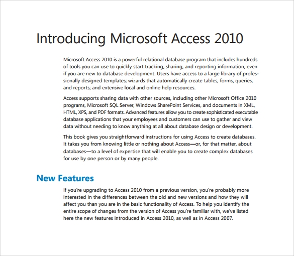 example of microsoft access 2010