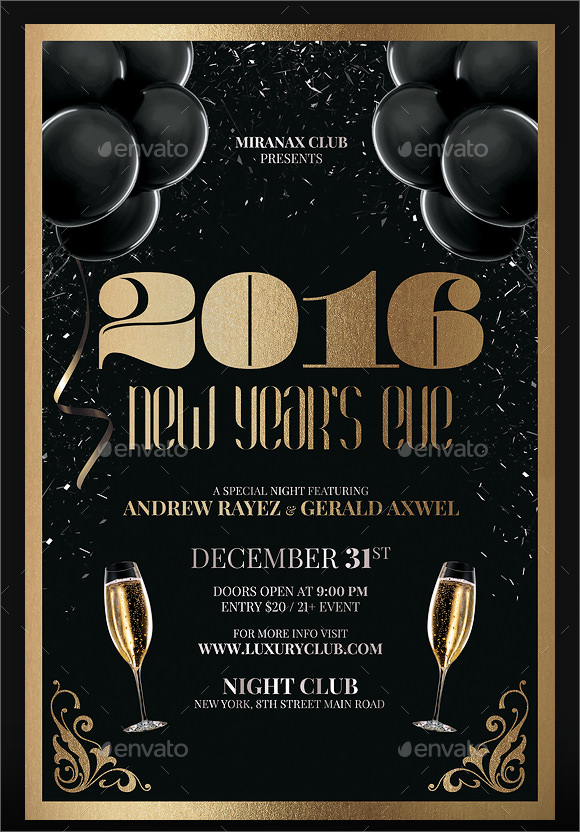 New Year Party Flyer Template   Download Documents In Psd  Pdf