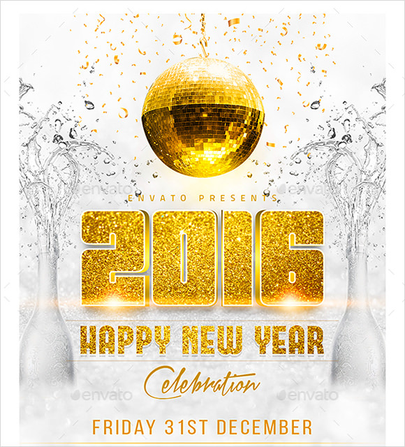 new year party flyer photoshop psd template