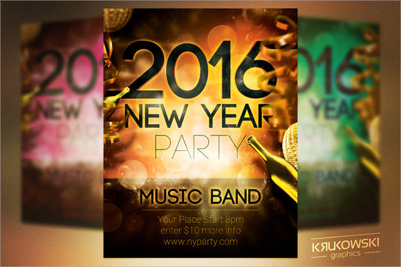 2016 new year party flyer template