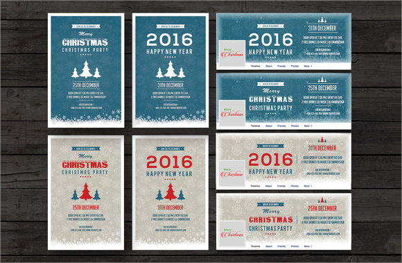 new year and christmas invitation template