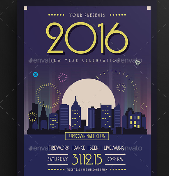 35 amazing new year party flyer templates to download for Brochure template illustrator free download