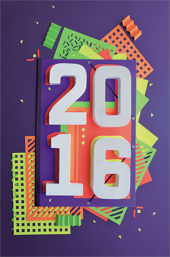 happy new year paper art card 2016