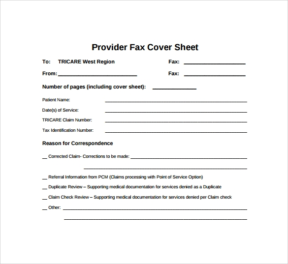 personal provider fax cover sheet