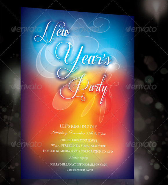 new year invitation with program