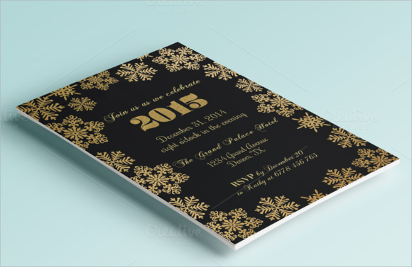 gold new years invitation template