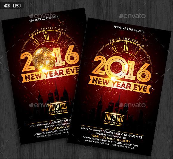 new year eve flyer invitation