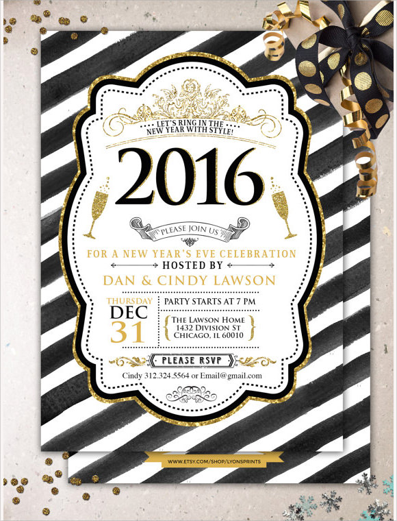 glitter new years party invitation