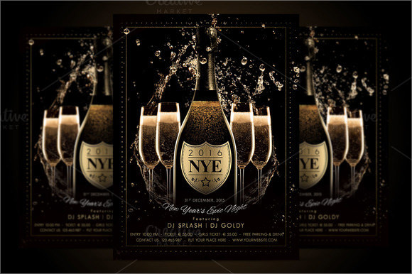 nye new year champagne night poster