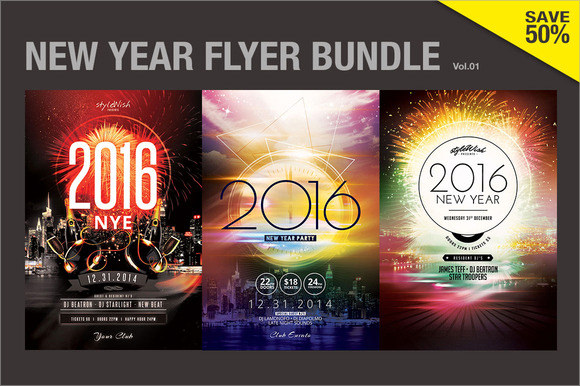 firework new year poster