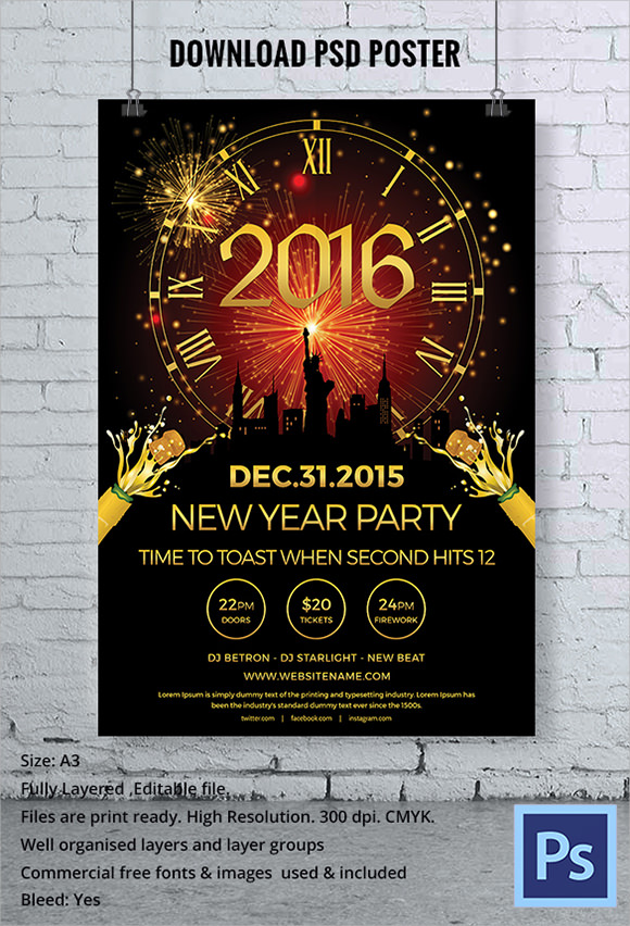 New Year PSD Poster Template