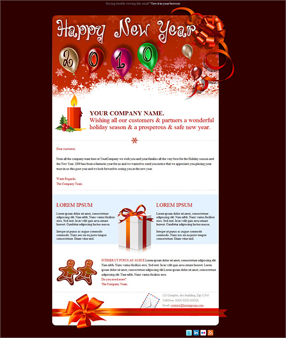 sample new year email template