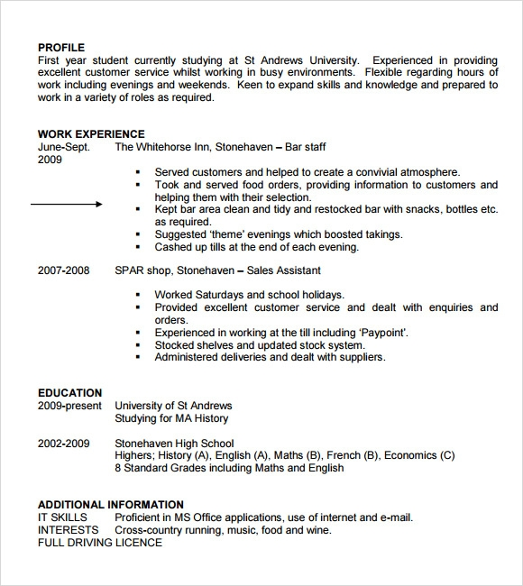 Sample Student Cv Template 9 Download Free Documents In Pdf Word