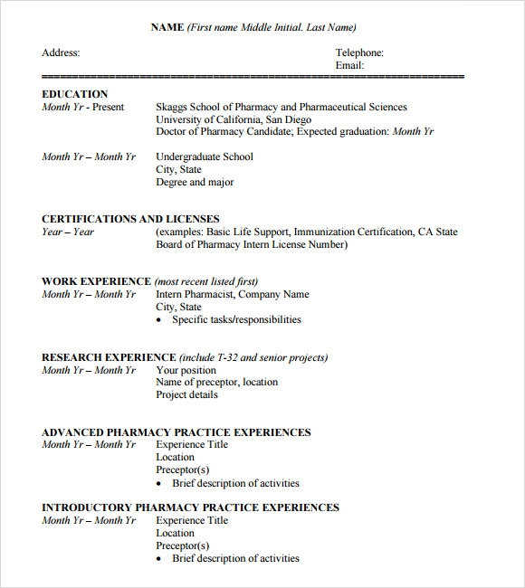 Curriculum Vitae Sample In Word Format