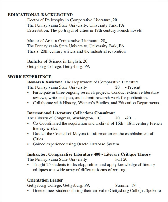 Sample Student Cv Template 9 Download Free Documents In