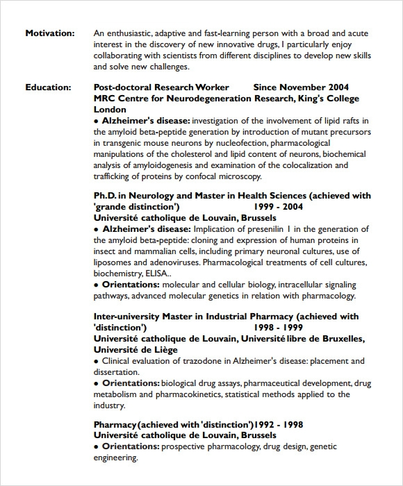 student cv template sample