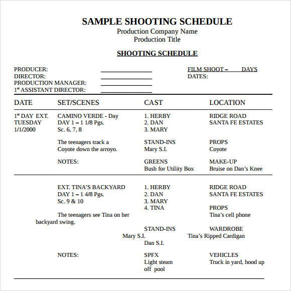 shooting schedule template word