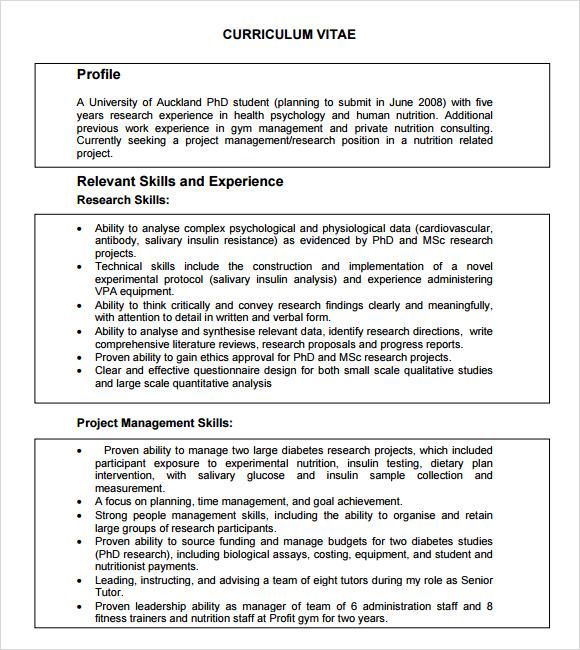 academic curriculum vitae template in word pdf