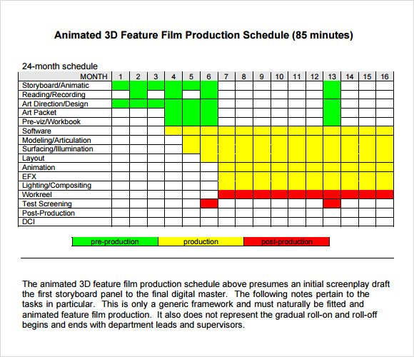 Sample Production Schedule Template Geminifmtk - Video production timeline template