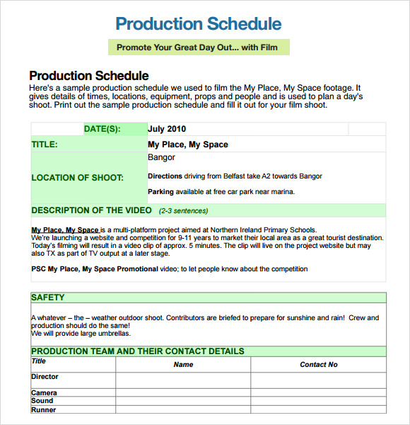 Sample Shooting Schedule   Documents In Pdf Word Excel