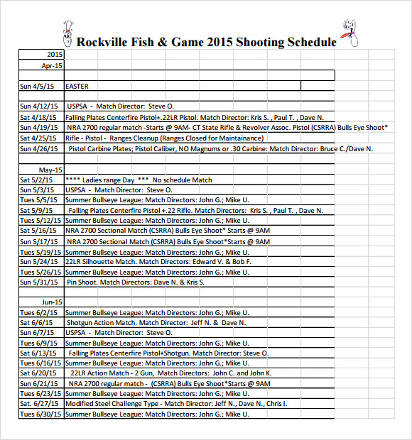 shooting schedule format
