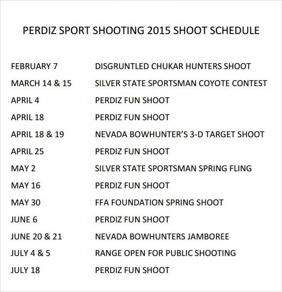 sport shooting 2015 shoot schedule