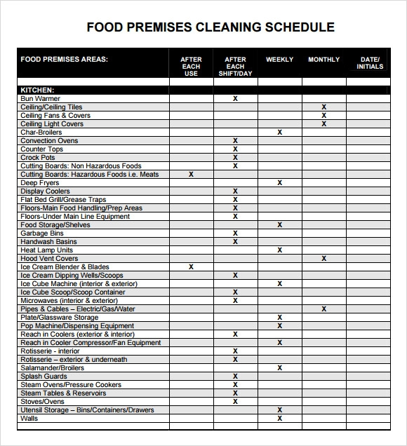 Sample Cleaning Schedule   Documents In Pdf