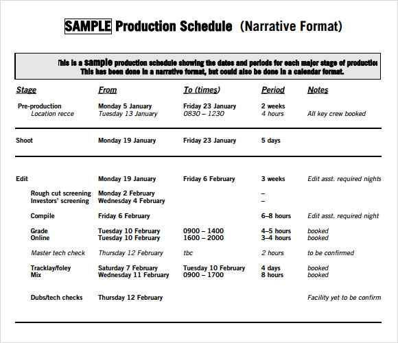 production schedule template free