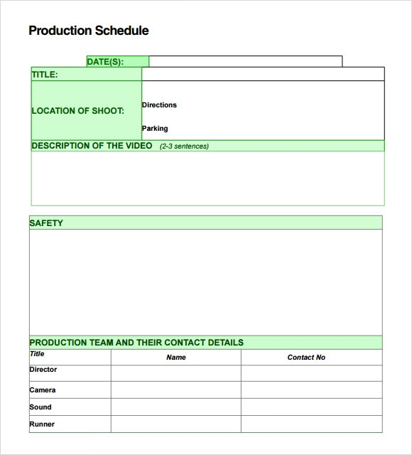 7 production schedule templates download for free sample templates. Black Bedroom Furniture Sets. Home Design Ideas