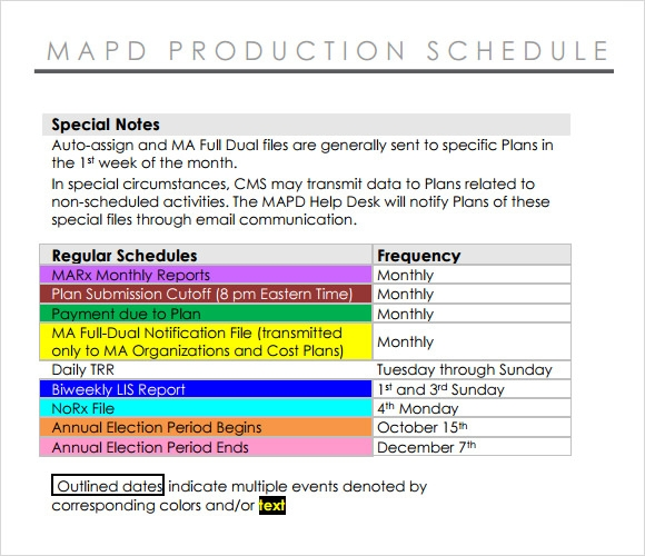 production schedule format