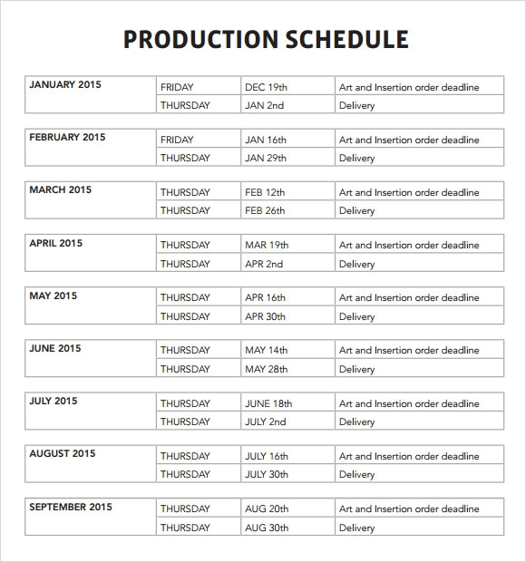 Sample Production Schedule Template   Documents In Pdf