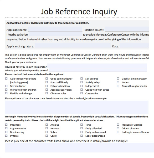 Sample Job Reference Template   Free Documents Download In Pdf