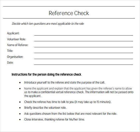 sample reference check template