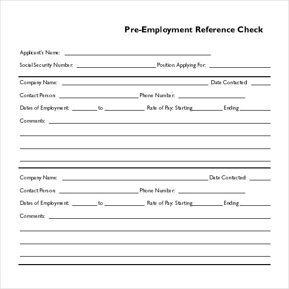 pre employment reference check template