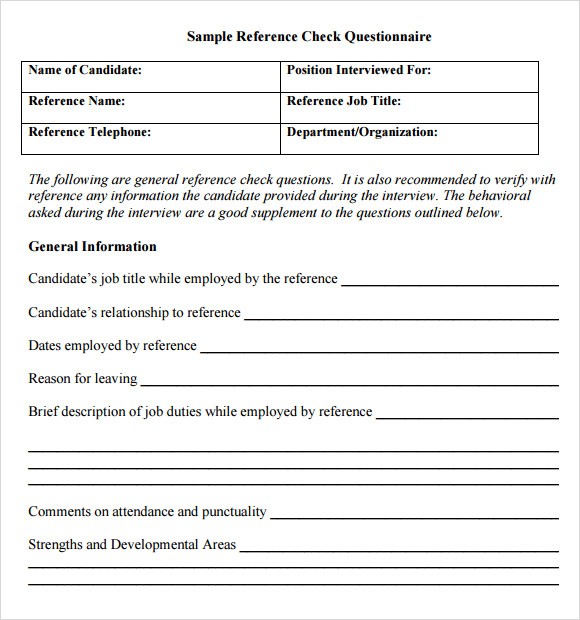 sample reference check questionnaire template
